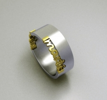 Personalized gold/silver ring with 2 names.