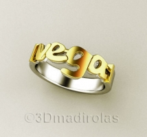 Personalized gold/silver ring 1 name 4mm wide