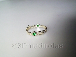 Silver personalized ring with 2 stones and names