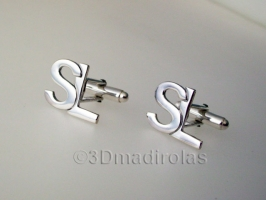 silver cufflinks customized with 2 capital letters.
