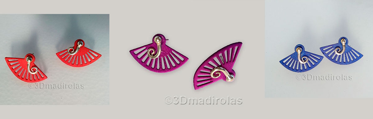 ABANICO earrings. Silver and color.